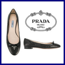 PRADA Platform Plain Toe Plain Leather Espadrille Shoes