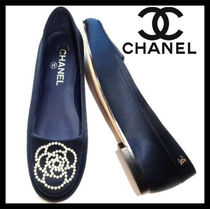 CHANEL Platform Plain Toe Plain Espadrille Shoes