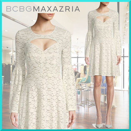 Flower Patterns A-line Long Sleeves Medium Lace