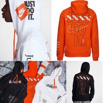 Nike Pullovers Stripes Street Style Long Sleeves Cotton Hoodies