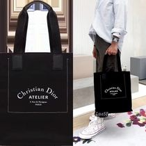 DIOR HOMME Unisex Cambus Street Style A4 Plain Totes