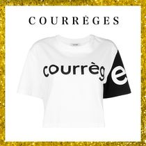 Courreges Crew Neck Short Unisex Street Style Bi-color Plain Cotton