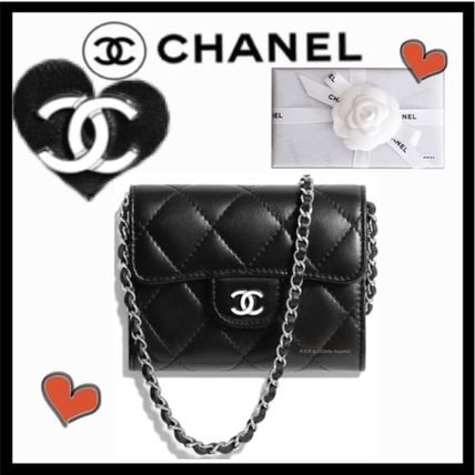 CHANEL MATELASSE Lambskin 2WAY Chain Plain Elegant Style Crossbody