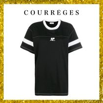 Courreges Crew Neck Unisex Street Style Plain Cotton Long