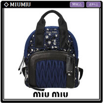 MiuMiu MATELASSE A4 2WAY Leather With Jewels Elegant Style Backpacks