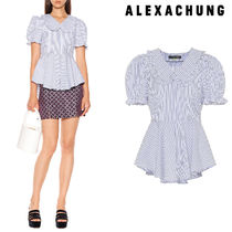ALEXACHUNG Stripes Peplum Puffed Sleeves Cotton Medium Elegant Style
