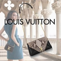 Louis Vuitton LOVE NOTE 2WAY Chain Leather Party Style Python Party Bags