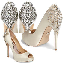 Badgley Mischka Open Toe Plain Pin Heels Party Style With Jewels