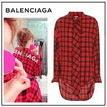 BALENCIAGA Gingham Casual Style Long Sleeves Cotton Oversized