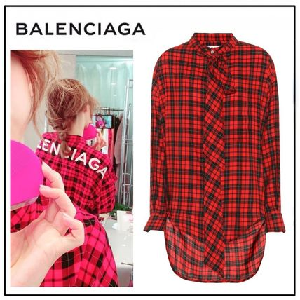Gingham Casual Style Long Sleeves Cotton Oversized