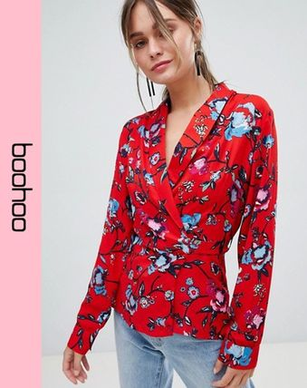 7667e22077082 ... boohoo 2018 19AW Flower Patterns Casual Style Shirts   Blouses by