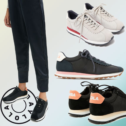 Casual Style Blended Fabrics Leather Low-Top Sneakers