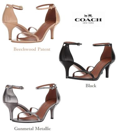 Plain Leather Pin Heels Elegant Style Sandals