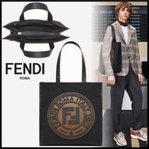 FENDI Canvas Blended Fabrics Street Style A4 2WAY Totes