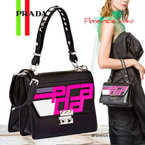 PRADA Calfskin Studded 2WAY Handbags