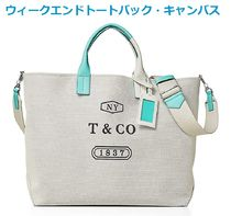 Tiffany & Co Canvas Street Style Bi-color Plain Elegant Style Totes