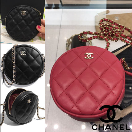 CHANEL Shoulder Bags Calfskin Chain Plain Shoulder Bags 9