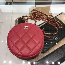 CHANEL CHAIN WALLET Calfskin Chain Plain Shoulder Bags