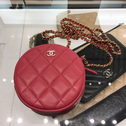 CHANEL Shoulder Bags Calfskin Chain Plain Shoulder Bags