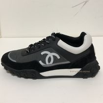 CHANEL ICON Casual Style Unisex Bi-color Low-Top Sneakers