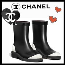 CHANEL ICON Casual Style Unisex Bi-color Plain Flat Boots
