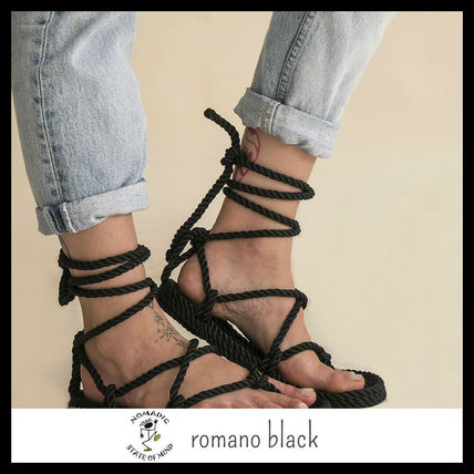 Open Toe Lace-up Casual Style Plain Sandals