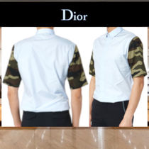 DIOR HOMME Camouflage Cotton Short Sleeves Shirts