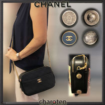 CHANEL ICON Calfskin Blended Fabrics 2WAY Chain Plain Elegant Style