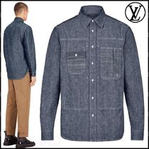 Louis Vuitton Button-down Blended Fabrics Long Sleeves Plain Cotton Shirts