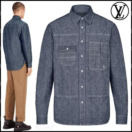 Louis Vuitton Shirts Button-down Blended Fabrics Long Sleeves Plain Cotton Shirts