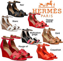 HERMES Open Toe Plain Elegant Style Platform & Wedge Sandals