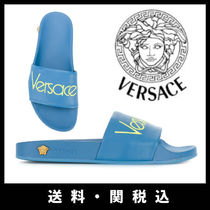 VERSACE Open Toe Casual Style Plain Leather Sandals