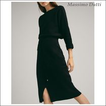 Massimo Dutti Pencil Skirts Plain Cotton Medium Elegant Style Midi Skirts
