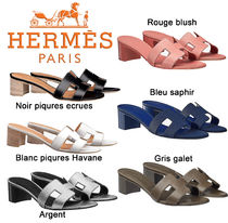 HERMES Open Toe Plain Block Heels Elegant Style Sandals