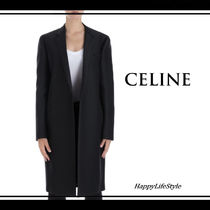 CELINE Wool Plain Long Elegant Style Chester Coats