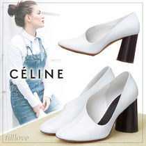 CELINE Plain Leather Block Heels Block Heel Pumps & Mules