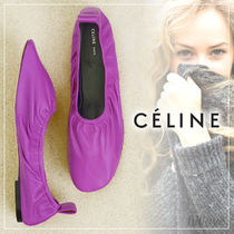 CELINE Square Toe Plain Leather Flats