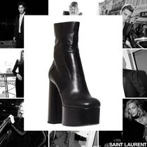 Saint Laurent Platform Plain Toe Casual Style Street Style Plain Leather