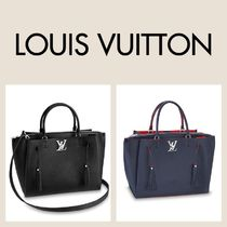 Louis Vuitton LOCKMETO Tassel A4 2WAY Plain Leather Fringes Office Style Totes