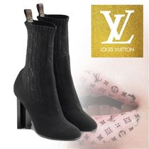 Louis Vuitton MONOGRAM Monoglam Leather Block Heels Elegant Style