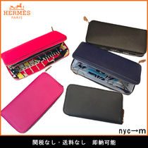 HERMES Silk In Leather Long Wallets