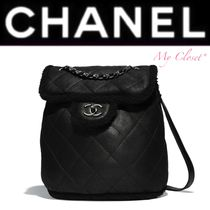CHANEL ICON Other Check Patterns Lambskin Plain Backpacks
