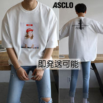ASCLO Unisex Street Style U-Neck Cotton Short Sleeves Oversized