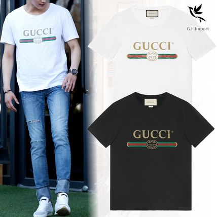 GUCCI More T-Shirts Street Style U-Neck Cotton Short Sleeves T-Shirts