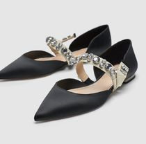 ZARA Plain With Jewels Ballet Shoes