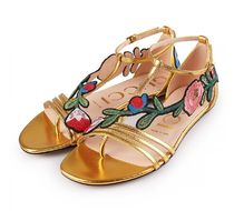 GUCCI Flower Patterns Open Toe Platform Casual Style Leather