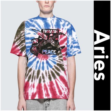 Crew Neck Street Style Tie-dye Cotton Short Sleeves