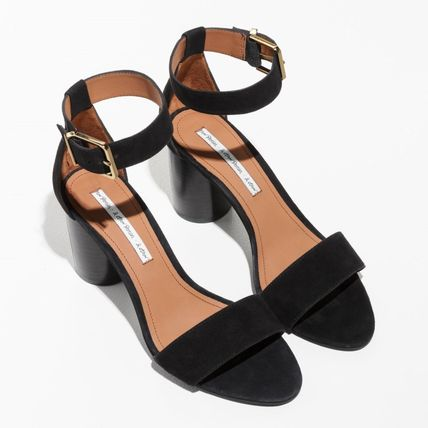 88d312cfaf12 Other Stories Heeled Open Toe Casual Style Suede Plain Block Heels Heeled  Sandals ...