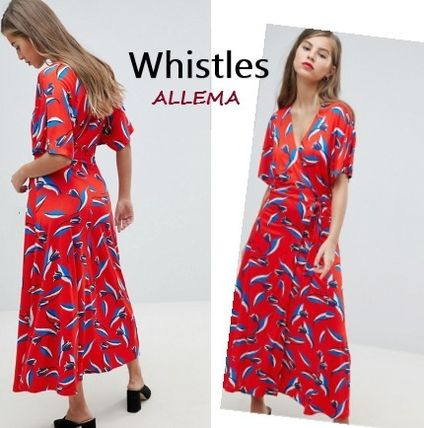 Wrap Dresses Flower Patterns Casual Style V-Neck