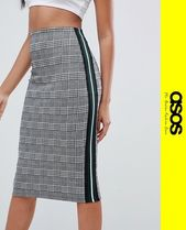 ASOS Pencil Skirts Other Check Patterns Casual Style Medium